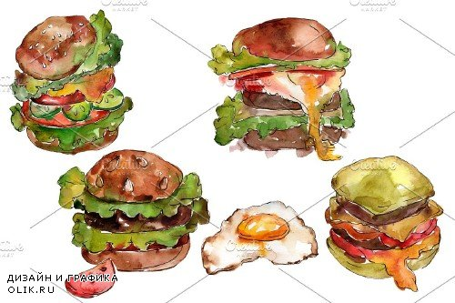 Hamburger for gentleman watercolor - 3705994