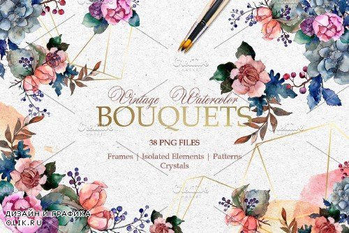 Bouquets Vintage flower Watercolor - 3702041