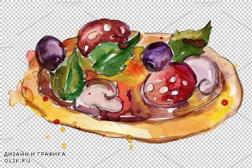 Pizza Margherita watercolor png - 3705964