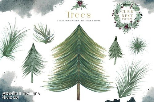 Plum Christmas Watercolor Clipart - 3120446
