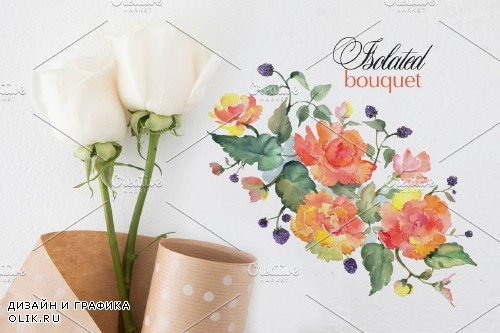 Bouquet with orange roses Watercolor - 3710436