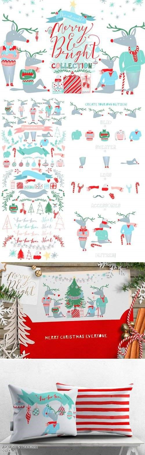 Merry and Bright Christmas Clipart - 421466