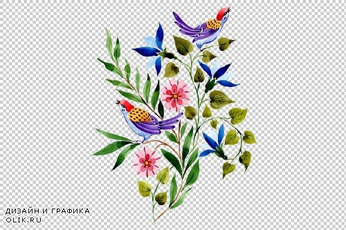 Ornament with birds PNG watercolor - 3099910