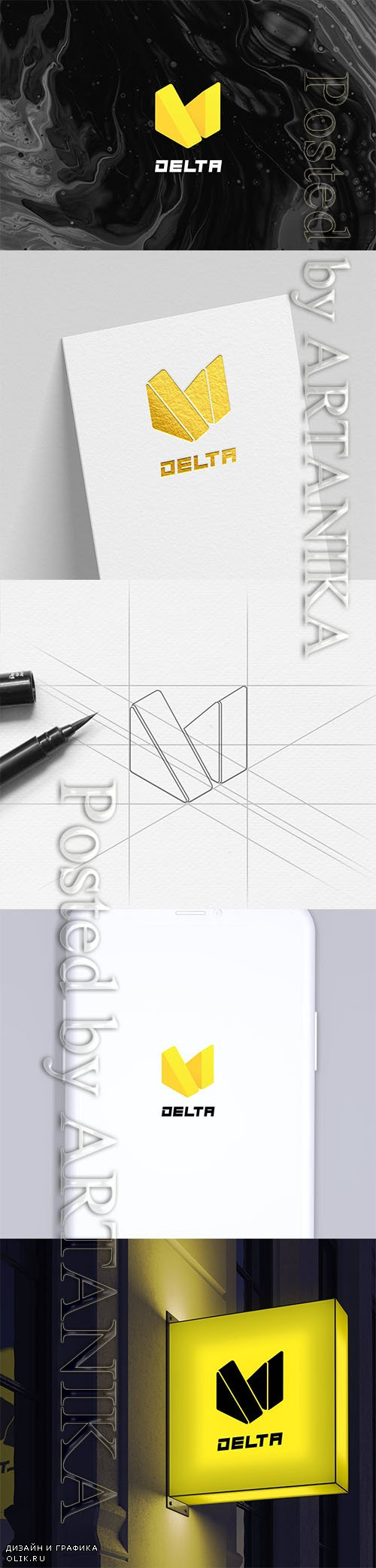 Isometric Triangles Logo – Abstract M Letter