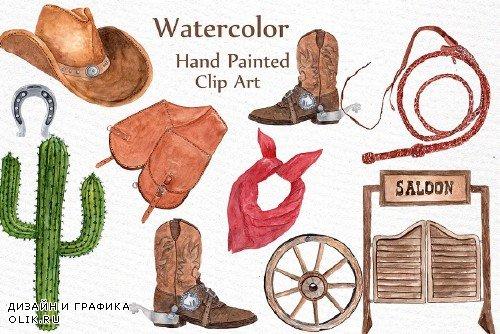 Watercolor Cowboy Clipart - 951969