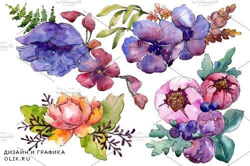 Aquarelle bouquet PNG set - 3100236