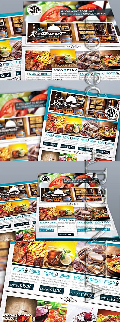 CreativeMarket Restaurant Flyer and Menu 1129897