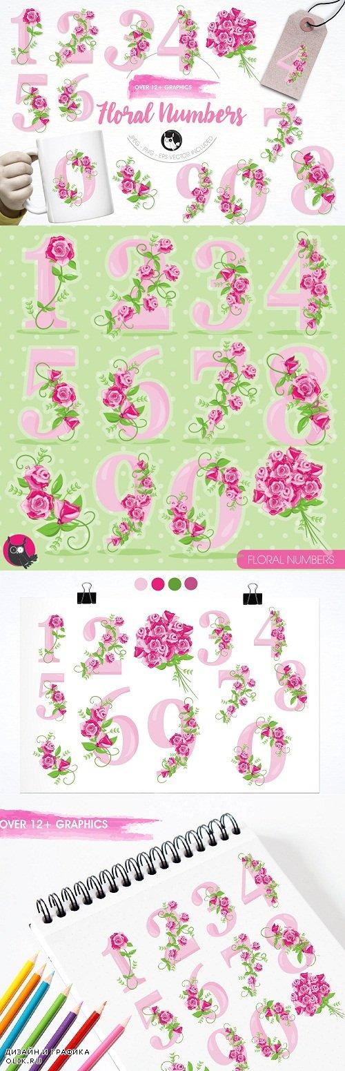 Floral numbers illustration pack - 1223735
