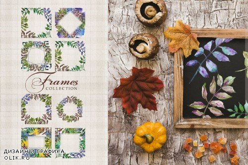 Ash leaves PNG watercolor set - 3100473