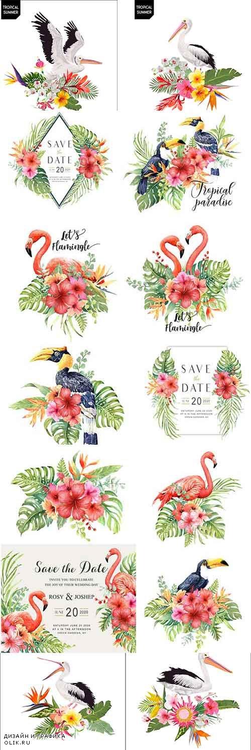 Фламинго в цветах - Векторный клипарт / Flamingo in colors - Vector Graphics
