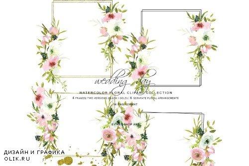 Watercolor Blush & White Rose Frames - 3723347