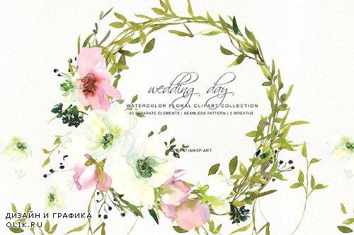 Watercolor Rose Clipart Set - 3723303