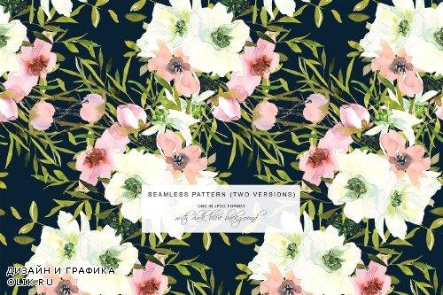 Watercolor Blush White Rose Clipart - 3723239