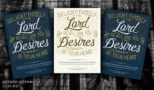 Psalm 37:4 psd flyer template