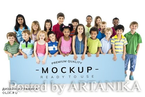 Diverse kids standing together with mockup banner