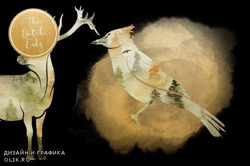 Forest Animal Boho Autumn Clipart - 3729058