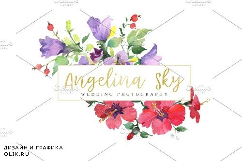 LOGO with red hibiscus and bluebells - 3727810
