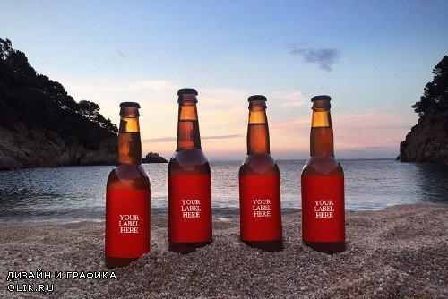 Sunset Beach 4 in 1 | Beer Mockup - 365453