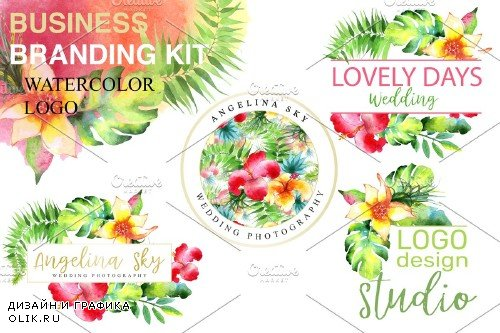 LOGO with bright tropical flowers - 3727605