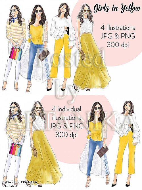 Designbundles - Girls in yellow watercolour fashion illustration clipart