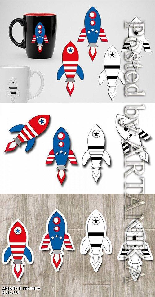 Designbundles - Rockets 4th of July graphics illustrations