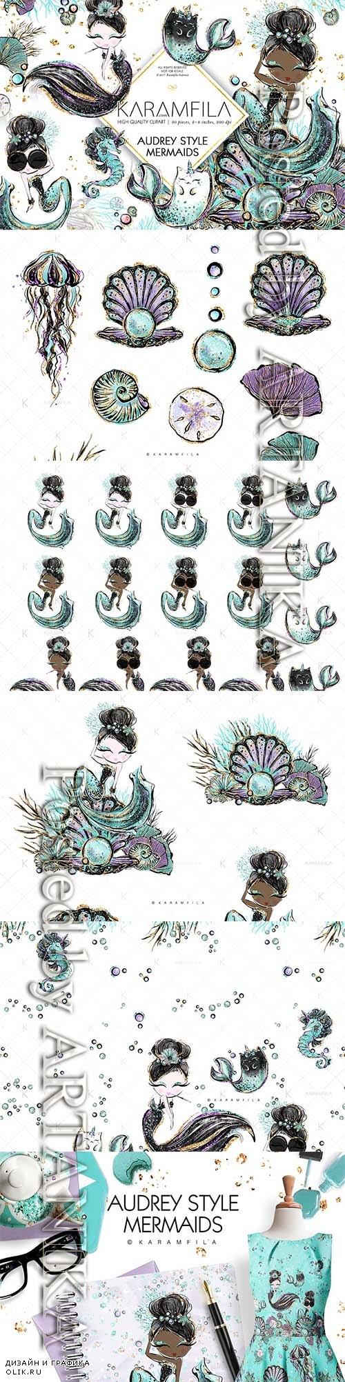 CreativeMarket - Audrey Hepburn Style Mermaids 2218733