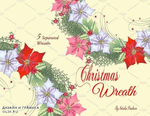 Christmas Wreath with Poinsettia - 467392