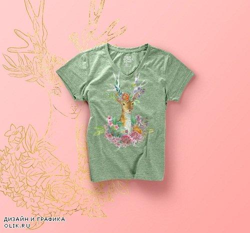 Watercolor deer clipart - 3080783