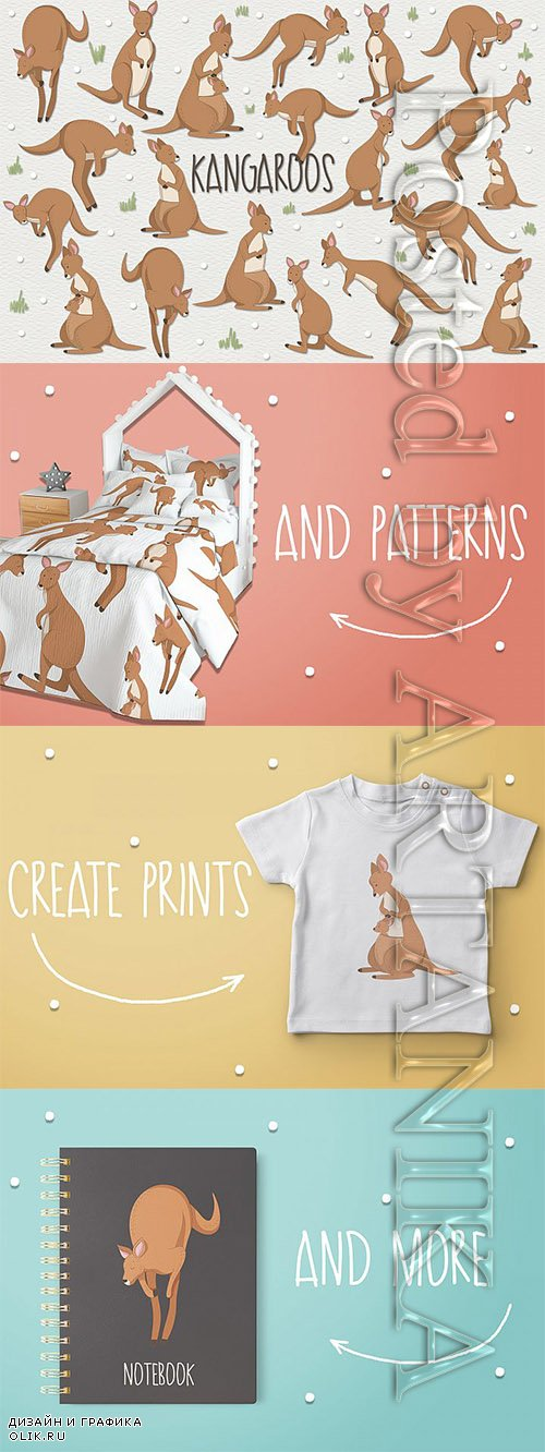 Designbundles - Kangaroos designs for prints and patterns