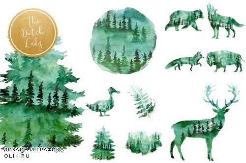 Green Winter Forest Animal Clipart - 3734763
