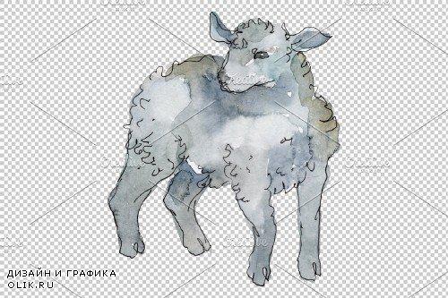 Farm animals: lamb Watercolor png - 3733133