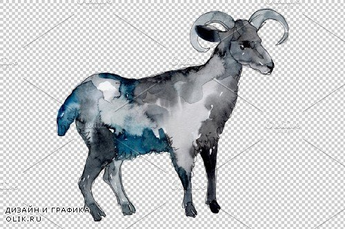 Farm animals: Ram Watercolor png - 3732171