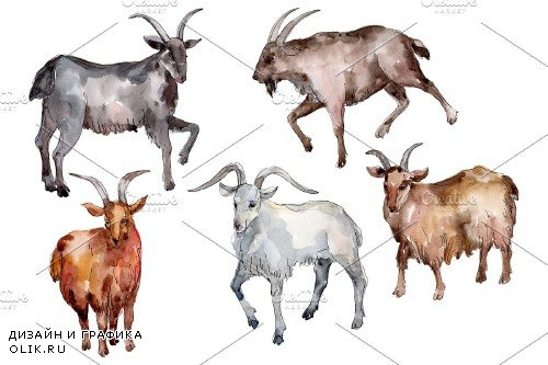 Farm animals:Goat Watercolor png - 3732191