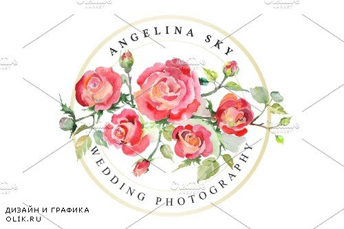 LOGO with red roses Watercolor png - 3733416