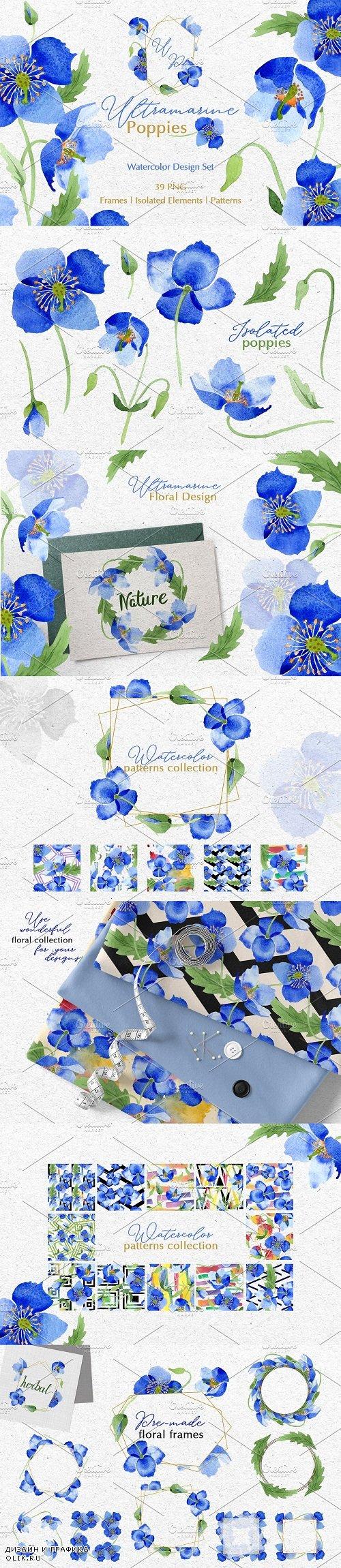 Ultramarine blue Poppies Watercolor - 3739115