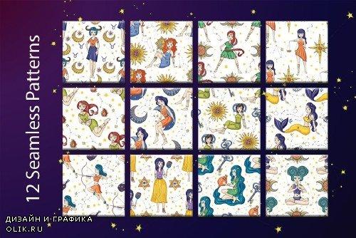 Zodiac nymphs. Big graphic set - 3739896