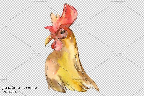 Farm animals: cock/hen head - 3742171