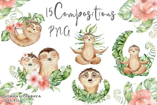 Lovely Sloths Watercolor set - 3590977