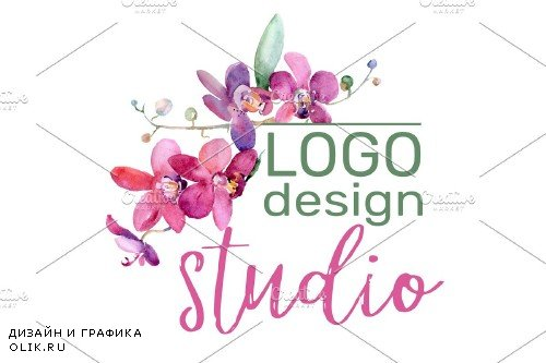 LOGO with pink orchids Watercolor PNG - 3741250