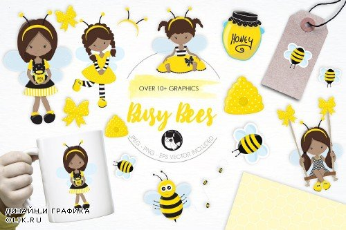 Busy Bees illustration pack - 1434158