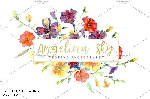 LOGO with wildflowers Watercolor png - 3740736