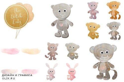 Cuddly Toy Animals Clipart Set - 3742571