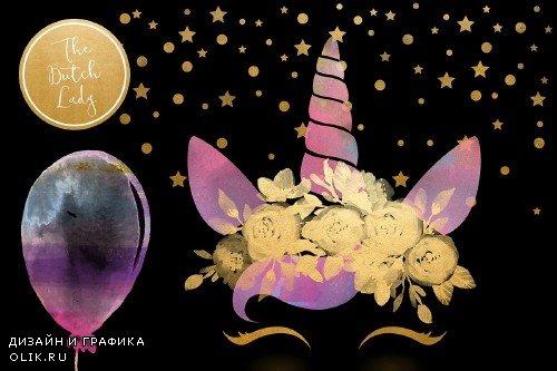 Unicorn Birthday Party Clipart Set - 3739621