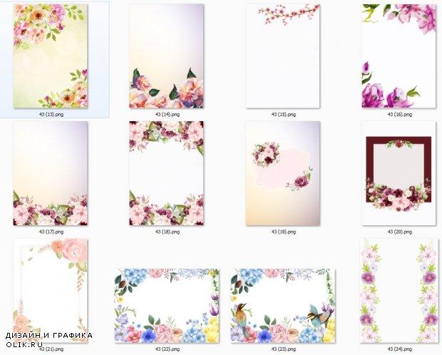 Цветочные фоны  для оформления творческих работ, А4. Часть 43.