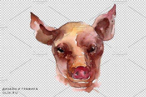 Farm animals: pig head Watercolor png - 3744882