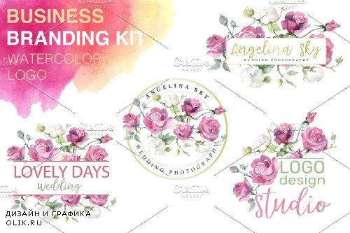 LOGO with pink roses and cotton - 3744947