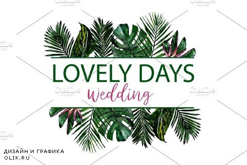 LOGO in tropical style Watercolor - 3744929