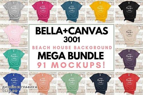 Bella Canvas 3001 Mockup On Wood - 3042139