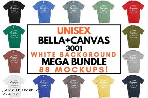 Male Bella Canvas 3001 Mockup Bundle - 3363803