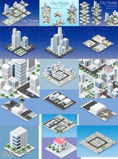 3D модель города - Векторный клипарт / 3D model of city - Vector Graphics